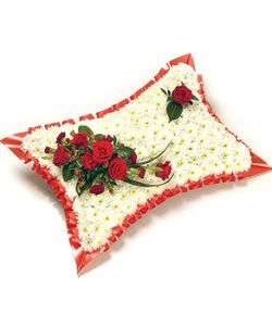 Fleurs Amanda-Weybridge-Surrey-Funeral-Flowers-Pillow-Cushions-White-Red-Roses