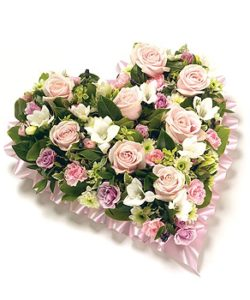 Fleurs Amanda-Weybridge-Surrey-Funeral Flowers-Heart-Pillow Cushion-Pink-Roses