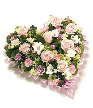 Fleurs Amanda-Weybridge-Surrey-Funeral Flowers-Heart-Pillow Cushion-Pink-Roses