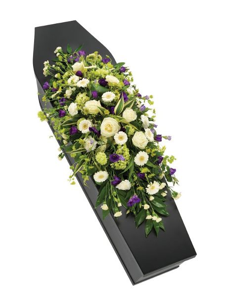 Fleurs-amanda-Surrey-funeral-flowers-Purple-White-Casket-Spray