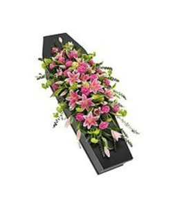 Fleurs-amanda-Surrey-funeral-flowers-Red-Double-Ended-Spray-Pink-rose-lily-casket